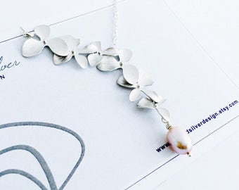 Elongated Silver Orchid Flower Necklace with Purple Freshwater Pearl, Sterling Silver Chain, June Birthstone, Gift Under 35