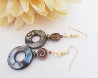 Mother of Pearl Earrings, Ocean Blue Boho Earrings, Bronze Earrings Bohemian Jewelry, Hippie Jewelry Dangle Earrings, Birthday Gift for Her