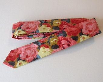 Liberty of London Skinny Tie in Roses // Pink, Salmon, Teal, Mustard // Tana Lawn