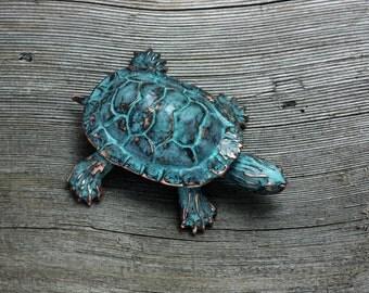 Turtle Sculpture Copper patina