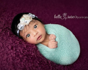 RTS, Mint Green Newborn Wrap, Baby Girl Photo Prop, Mint Green Baby Wrap, Mint Green Knit Baby Wrap, Stretch Newborn Wrap, Baby Girl Props