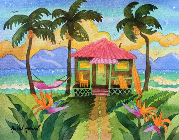Tropical Island Hut with Hammock and Surfboard by ocean with Palm Trees Beach and Birds of Paradise Flowers