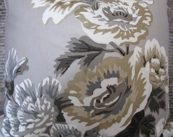 Schumacher Pyne Hollyhock No.1 Pillow Cover - Grisaille