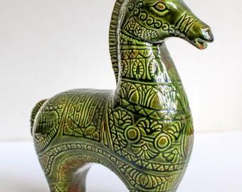 Vintage Bitossi Style Horse, Green Ceramic Horse Sculpture, Mid Century Modern Horse, Bitossi Ceramiche, Raymor Horse, Aldo Londi