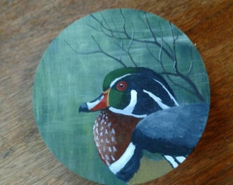Woodduck Drake painting on wood with swamp scene painting, original by Don Reardon