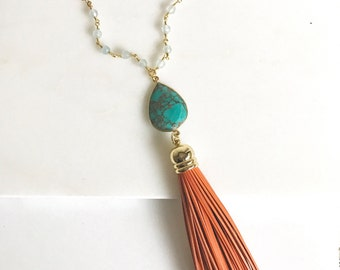Tassel Necklace in Orange and Turquoise. Leather Tassel. Long Gold Tassel Necklace. Gold Tassel Necklace. Boho Style. Strand Necklace. Gift.