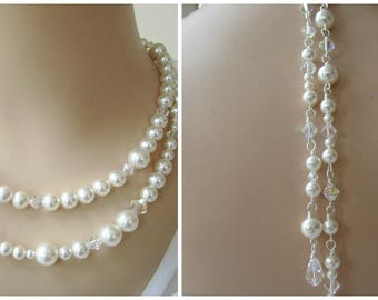 Back Drop Necklace,Bridal Necklace,Double Strand Pearl Necklace,Swarovski Pearls Crystal,Backdrop Bridal Necklace,Drop Back,Statement Bridal