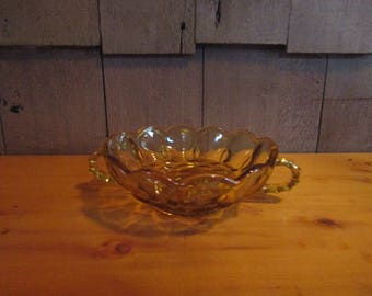 Antique vintage amber glass serving bowl with handles