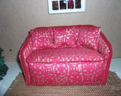 1:6th scale Barbie Dollhouse Handcrafted Furniture Upholstered Settee Sofa for Barbie Living Room or  Bedroom Scaled for BARBIE BLYTHE