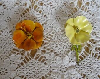 Vintage Brooches - Spring Brooch, Floral Brooch, Choice of 2, Easter Brooch, Enamel Brooch, Orange Flower, Yellow Flower with Stem