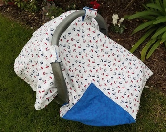 Baby Car Seat Cover Nautical - Tiny Boats - Red, White and Blue