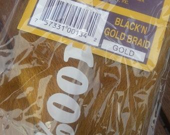 GOLD - 144 - Black n Gold - Gold Kanekalon Jumbo Braid - Black n Gold Synthetic Braiding Hair for Dreads, Braids, Extensions, etc