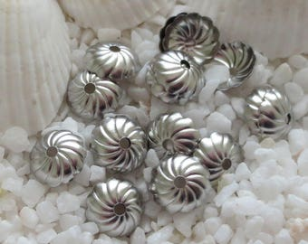 Stainless Steel Bead Caps - 8mm x 2mm - CHOICE OF 25 OR 50 pcs