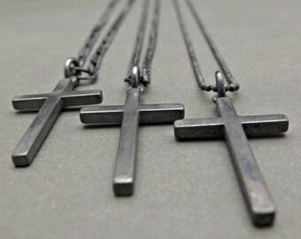 Mens Cross necklace silver, Cross jewelry, Cross necklace, Mens silver necklace, Sterling Silver Thick Cross charm, Cross Sterling silver