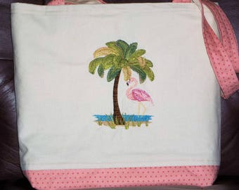 Palm Trees Tote | Mother's Day Gift | Pink Flamingo Tote | Canvas bag|  Embroidered Tote|  XL book bag  Diaper Bag  Pink Flamingos