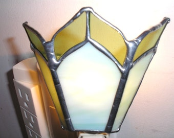 LT Stained glass, simple 2 greens, night light, lamp, clear and opal green glass, my hand made in the USA, accent lighting, wall decoration,