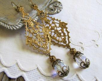 Filigree Teardrop Earrings Vintage Crystal Earrings Gold Earrings Assemblage Earring Bridal Earrings Wedding Earring Gold Filigree Earrings