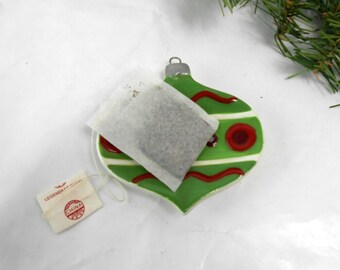 Vintage Christmas tea bag caddy tea bag holder tea bag caddy red and green and red vintage tea bag caddy Christmas ornament tea caddy