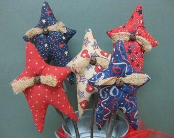 Americana Star Plant Pokes - Primitive Stars - Set of 5 - Crock Pokes - Patriotic Fabric Grungy - Americana Home Decor - July 4th