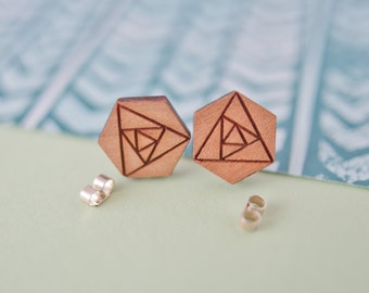 Geometric Rose Earrings, Rose Studs, Wooden Flower Earrings, Geometric Studs, Cute Earrings, Sterling Silver Earrings, Wooden Flower Charms