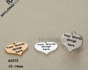 Ready to engrave-Your logo or words here--custom order accepted Laser Engraved stainless steel heart charms--50 pcs-G2072--15x14mm