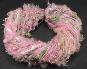 Handspun art yarn Wensleydale  locks and more , 4.7 oz, 42 yards
