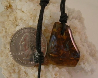 Australian Boulder Fire Opal with Bright Purple Fire with Pre-attached Black Adjustable Cord Necklace 659