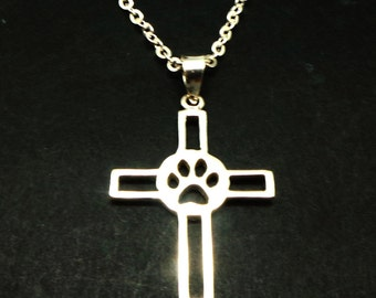 Silver Pet Memorial Paw Cross Necklace Jewelry - Dog and Cat Keepsake Remembrance Necklace, Pet Lost Necklace