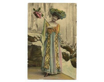 Fashionable Lady Antique Postcard - Seashell finish, gilt accent - Printed in Saxony - 1909 Norway posted