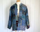 Patchwork Jacket - Early 90s Hippie Boho Jacket - Blue Elephant Button Up Quilted Coat - Large L