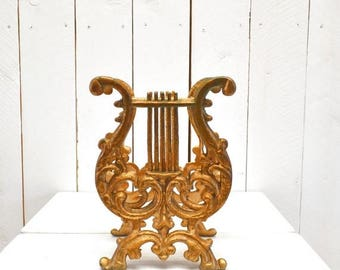 15% OFF Vintage Record Holder 1960s Iron Harp Gold Painted Metal Taple Top Ornate Vintage Magazine Rack