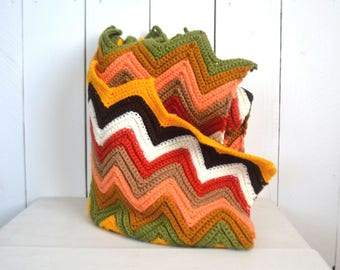 Retro Crochet Throw Blanket - 1960s Colorful Chevron Stripe Blanket - Vintage Zig Zag Throw Rug - 54 x 44 Inches