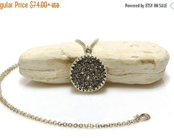 SUMMER SALE - Druzy necklace,druzy pendant,silver pendant necklace,silver necklace,gemstone necklace,long necklace