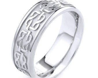 White Gold Celtic Band Knot Ring Mens Jewelry Wedding Man
