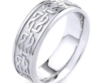 white gold celtic band celtic knot ring mens jewelry celtic wedding ring man - Wedding Ring Man