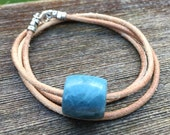 SOLD Hand Carved Beautiful Rare Vonsen Blue Jade Bead Necklace