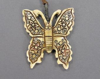 Vintage Carved Bone Butterfly Pendant, Vintage Bone Necklace, Large Pendant, Antiqued, Boho