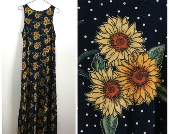 90s  black sunflower print sleeveless dress M
