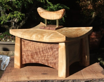 Memorial Box of Curly Black Walnut and Figured Maple