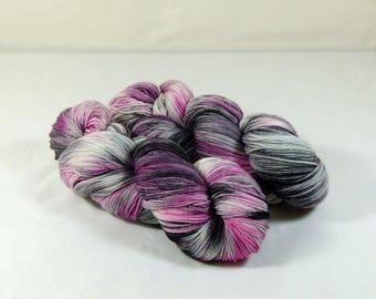 Hand Dyed Yarn - Sock Yarn - Fingering Yarn - Superwash Merino / Nylon - Pink, Gray, and Black - Good and Plenty Candy
