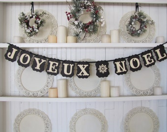 JOYEUX NOEL Christmas Banner, French Christmas Sign, Christmas Card Photo, Paris, European Christmas, Christmas Decoration, French Decor