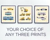 Transportation prints, toddlers room decor, Truck print, Train Wall Art, Construction decor, Airplane wall art, Police Decor, Nursery boy,