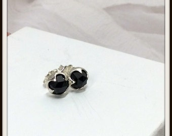 Sterling silver stud earrings Black Spinel Rose cut 8mm Post earrings