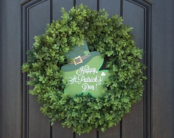 "St Patricks Day Wreath Grapevine Boxwood Door Wreath.. ""Happy St. Patrick's Day""  Two Wreaths In One-Removable Wooden Sign"