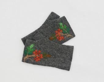 Felted Fingerless Gloves Fingerless Mittens Arm warmers Wristlets Merino Wool Gray Rowan
