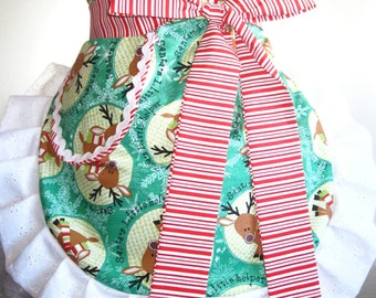 Ready to Ship Christmas Reindeer Apron