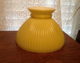 Yellow Ribbed Milk Glass Shade Parlor Student & Hanging Lamps Vintage Lighting Home Decor