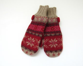 Felted Wool Mittens Fleece Lined Snowflake Fair Isle in Red Pink Plum and Khaki Wool Mittens