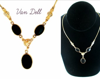 Van Dell Necklace 16 Inch Vintage Gold and Onyx Gold Filled