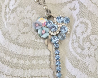 BLUE Frost - FAiRYTALE Fantasy KEY Necklace - Glam Jewelry